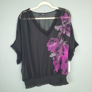 A New Approach ANA Black Semi Sheer Floral Size XL